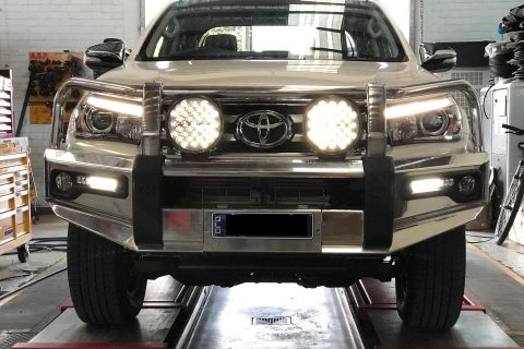 110Ah AGM Accessory Battery in a Toyota HiLux' Engine Bay